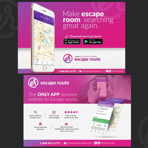 Design an eye-catching flyer for Escape Route app
