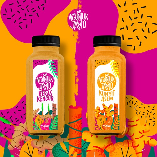 "Label design for healthy drink ""Jamu"" from indonesia"