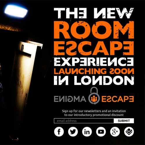 Splash landing page for a new escape room
