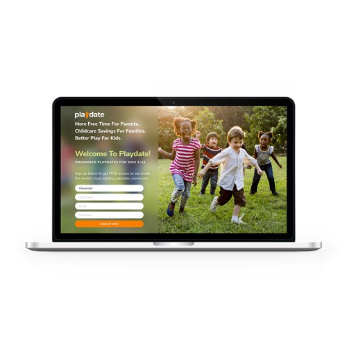 Landing page for a playdate app for kids