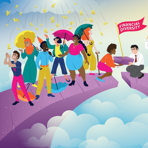 Illustration to celebrate diversity within the financial industry