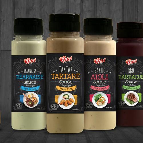 Odel Sauce Range Label