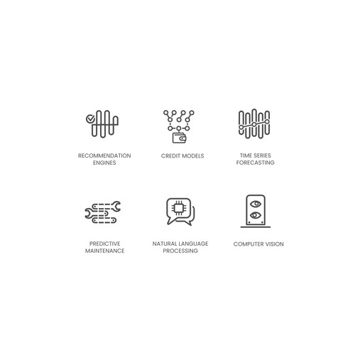 Icons/Illustrations for categories of AI-solutions