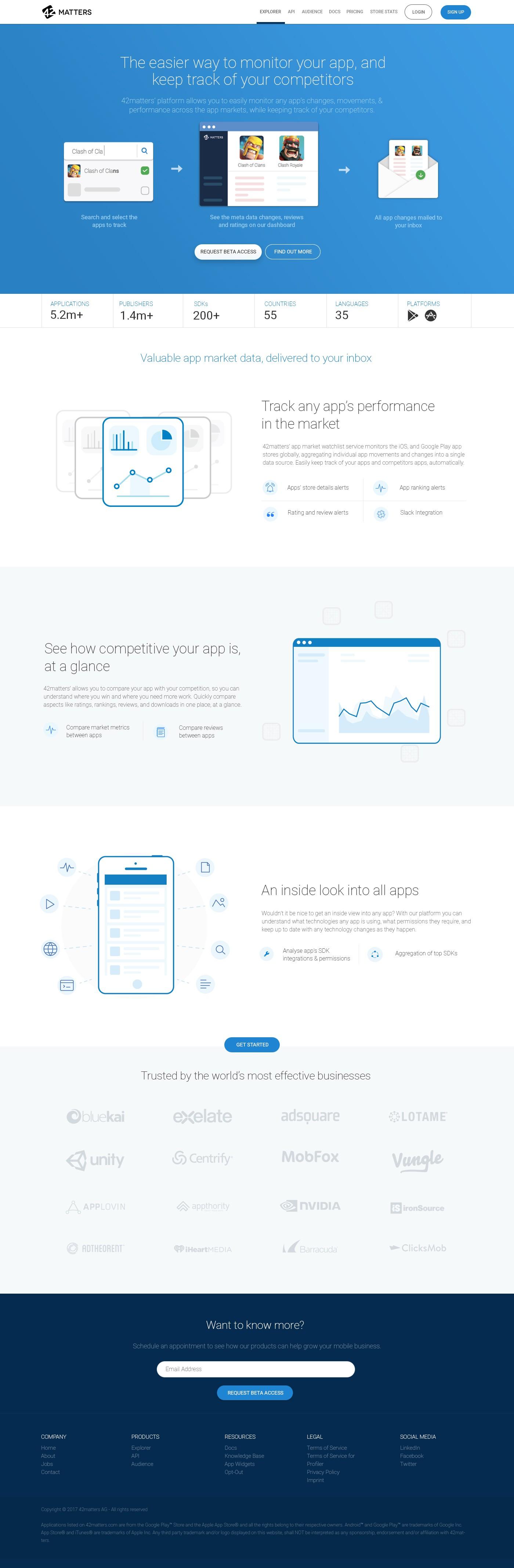 42matters App Market Watchlist Landing page