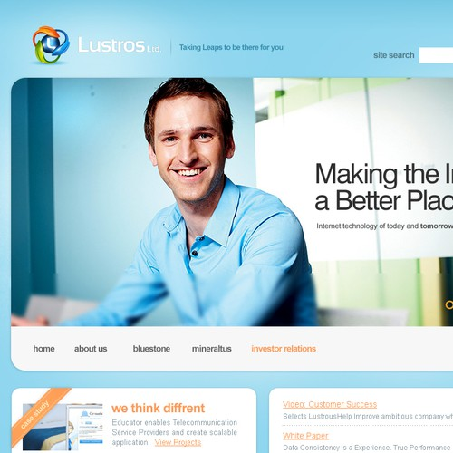 New website design wanted for Lustros Inc. www.lustros.com