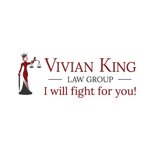 A sassy mature lady trial lawyer logo.