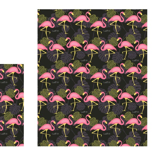 Fabric Pattern Design Easy Concept Textile Modern Flamingo Beach