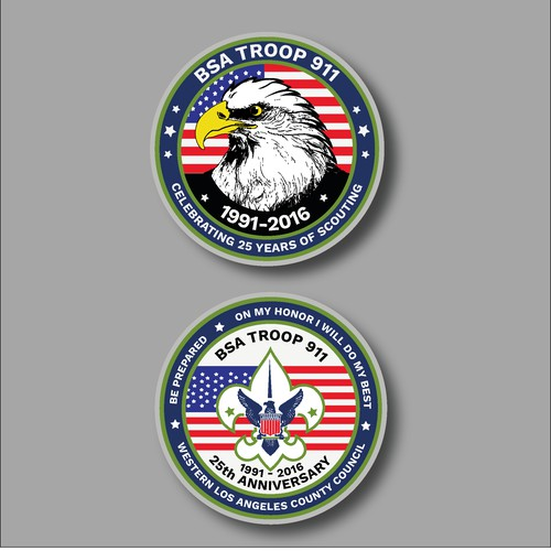 25th Anniversary Challenge Coin Design for Boy Scout Troop 911