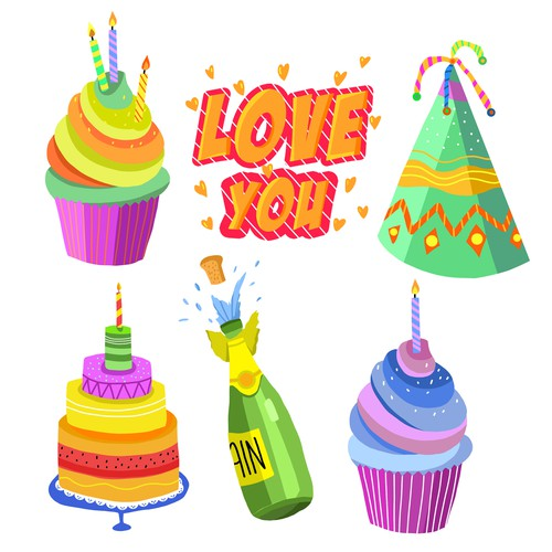 'happy birthday' stickers