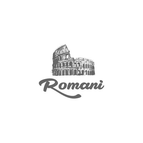 a logo for romani