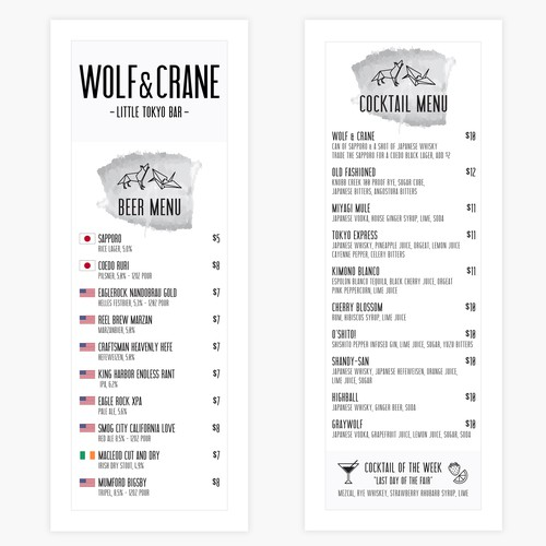 Wolf & Crane Alcohol Selections Menu
