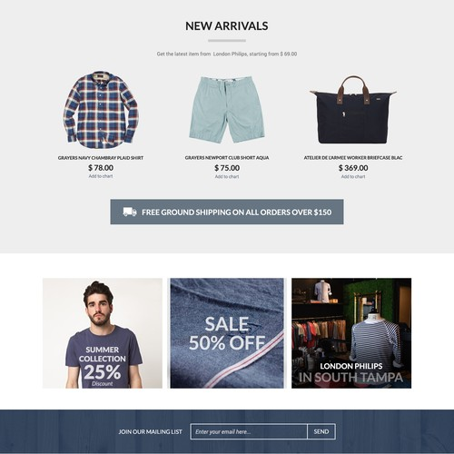 Londonphilips - Men's Clothing Retailer Homepage Web Design