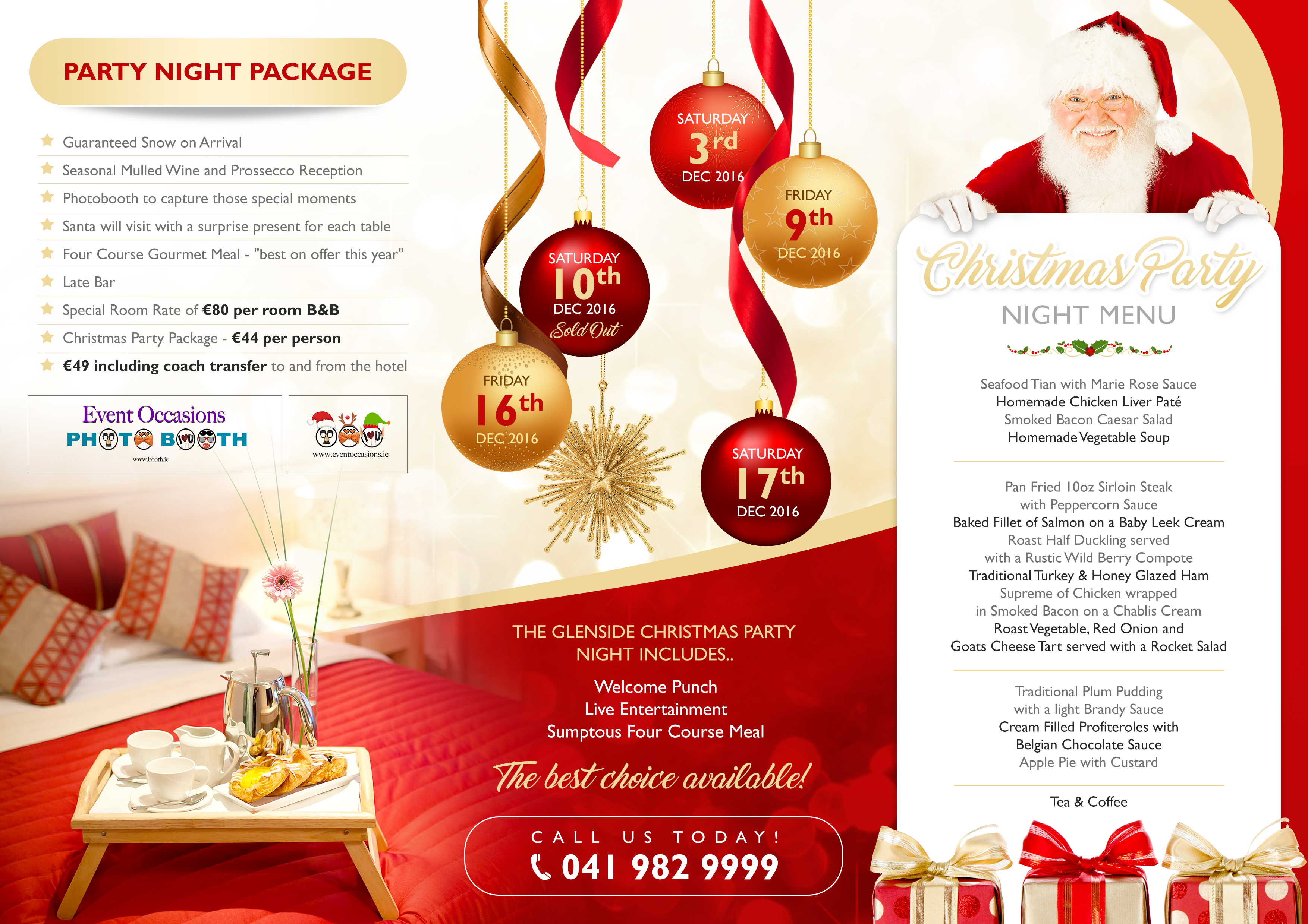 Update the Christmas Party Brochure for glensidehotel.ie