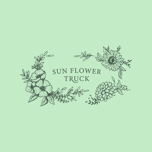 Pen-Ink Illustrated Sun Flower Truck