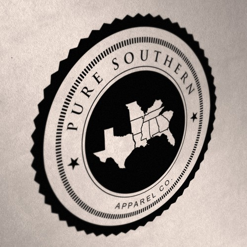 Create the emblem/logo for PURE SOUTHERN, a southern college themed apparel company.