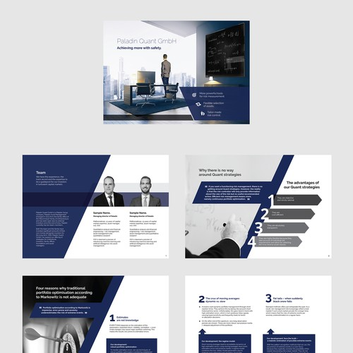 Modern clean brochure for Paladin Quant GmbH