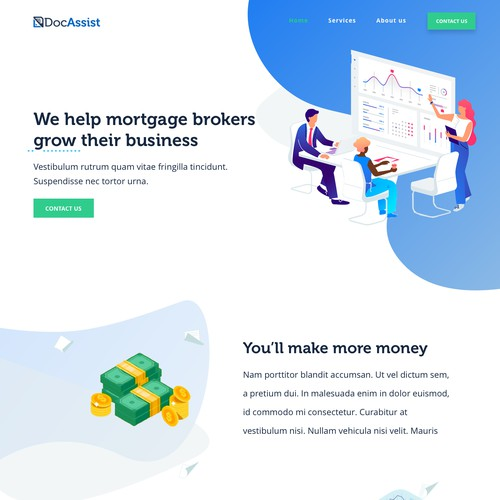 Modern and clean website design for a financial services company