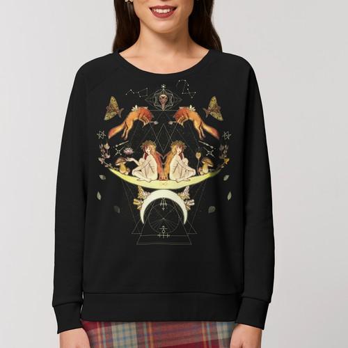 Moon Child - Mondkind - Schwarzes Sweatshirt aus Bio Baumwolle für Frauen