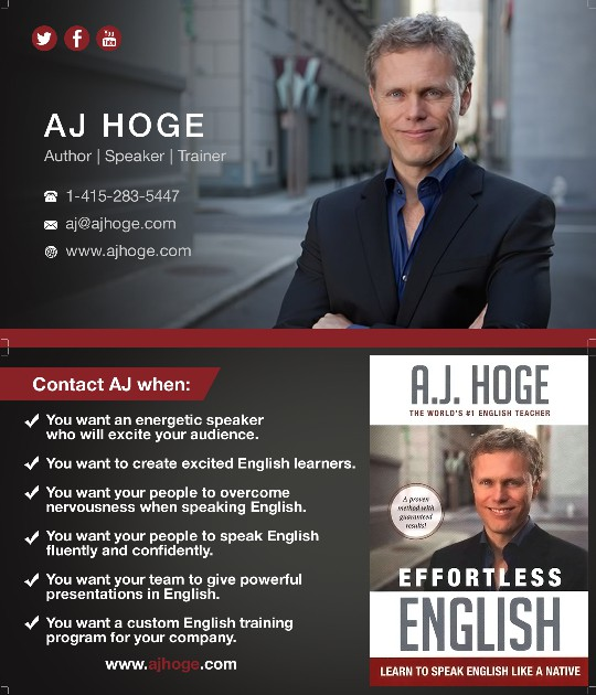 Design winning professional card for author, motivational speaker and English coach
