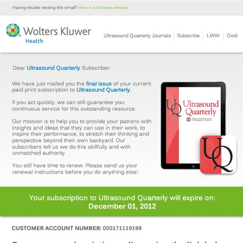 Create a journal renewal email with conversion in mind for Wolters Kluwer