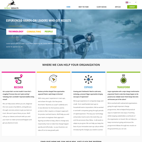 Clean and Different website for a Technology Management Company