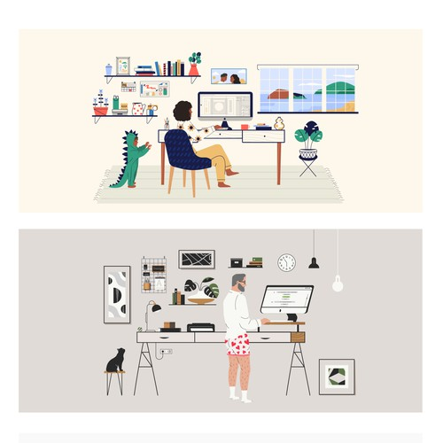 Illustrations representing the different workspaces of the designers within the 99designs community