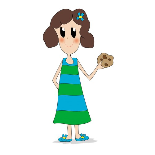Create a cute, simple and stylish illustration of a girl holding a chocolate chip cookie.