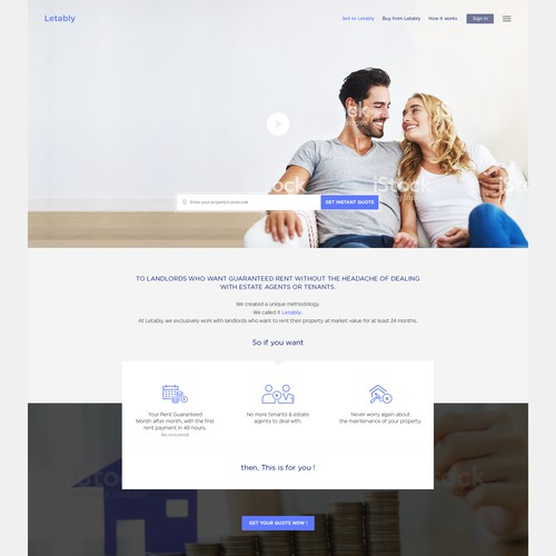 Homepage design for instant property rental for landlords