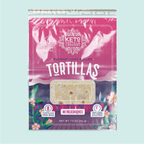 Modern, High Quality Packaging Design for Keto Tortilla Company