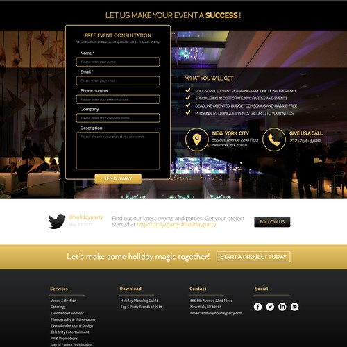 Corporate Party Events Website