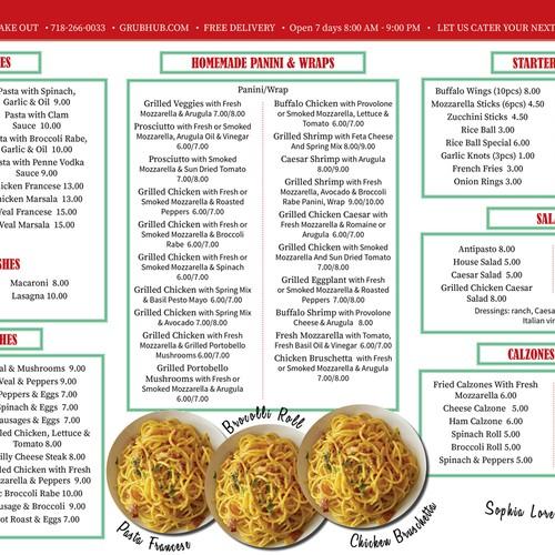 Colorful, eye catching Pizzeria menu