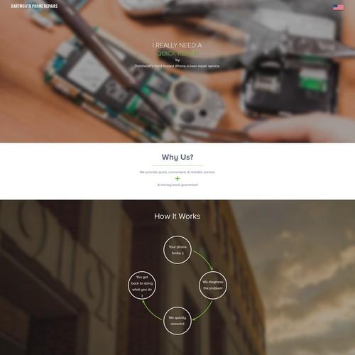 Clean website for phone repair startup
