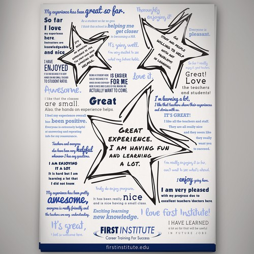 Create a Non-Traditional Testimonial Flyer for First Institute.