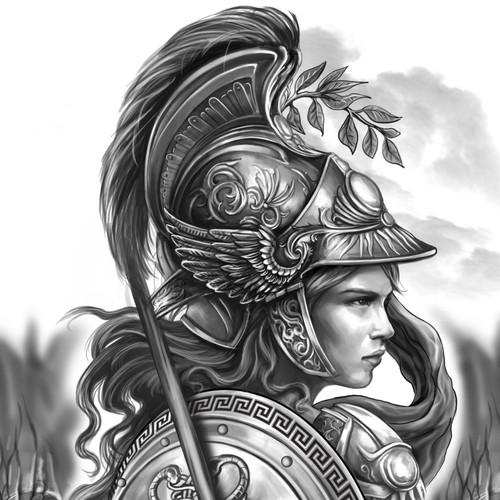 Athena full sleeve tattoo