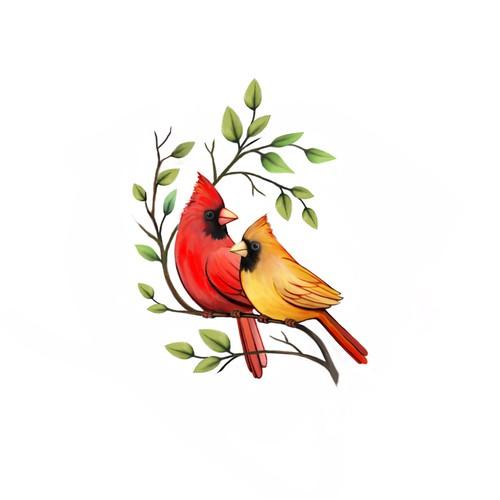Cardinal birds tattoo design