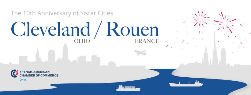 Design Sister City 10th Anniversary Facebook Cover for Cleveland and Rouen