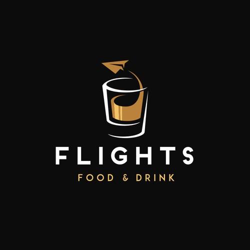 "Logo design concept for an airport restaurant ""Flights"""