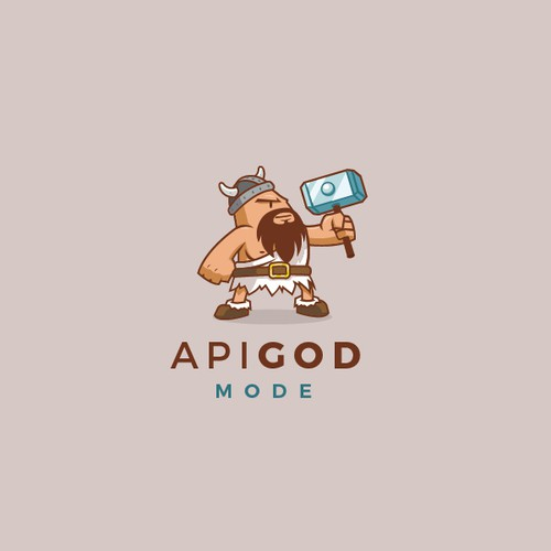 Simple cartoon character logo concept for API God mode.