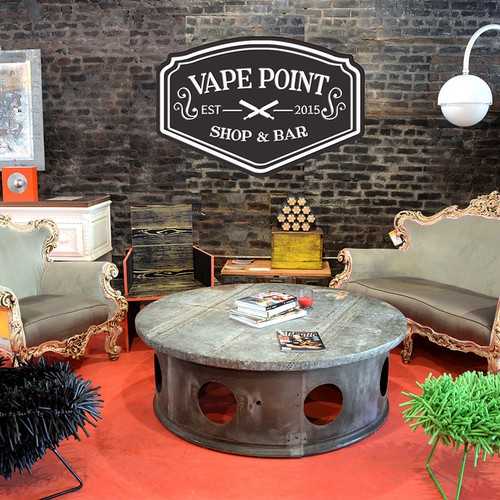 logo concept for vape point shop & bar