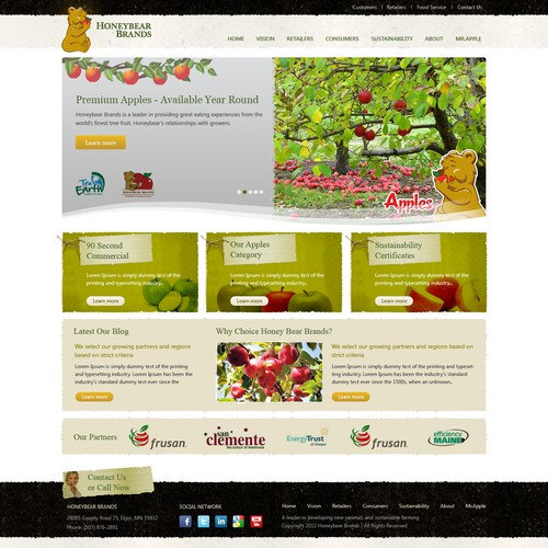 Create the next website design for Honeybear Brands; www.honeybearbrands.com