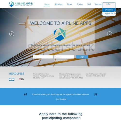 Airline Apps web page
