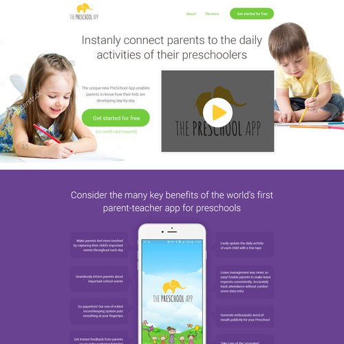 """Landing Page for """"The Preschool App"""""""