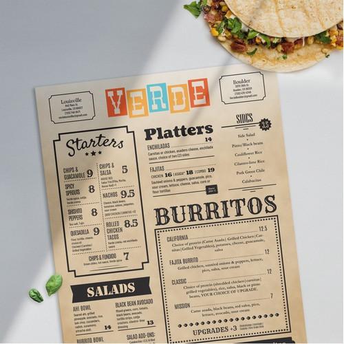 Western style menu