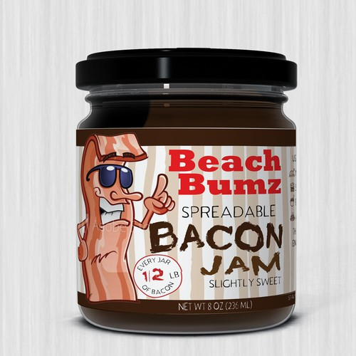 Fun and funky label for bacon jam.