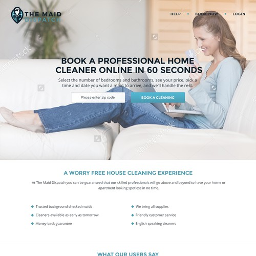 Landing Page for Maid Service