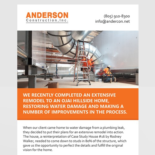 Email template for a construction company