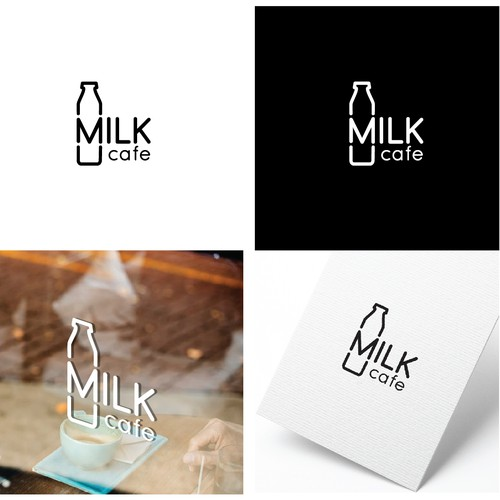 Clean and modern logo for milk cafe