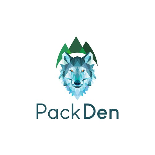 Geometric wolf with trees background for PackDen