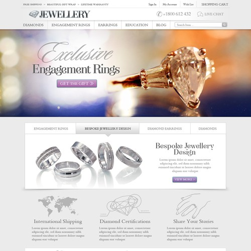 Jewellery Website Design -> 3 pages only. AMAZING and trusted e-commerce site
