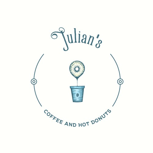 Friendly and warming logo for coffee and donut shop